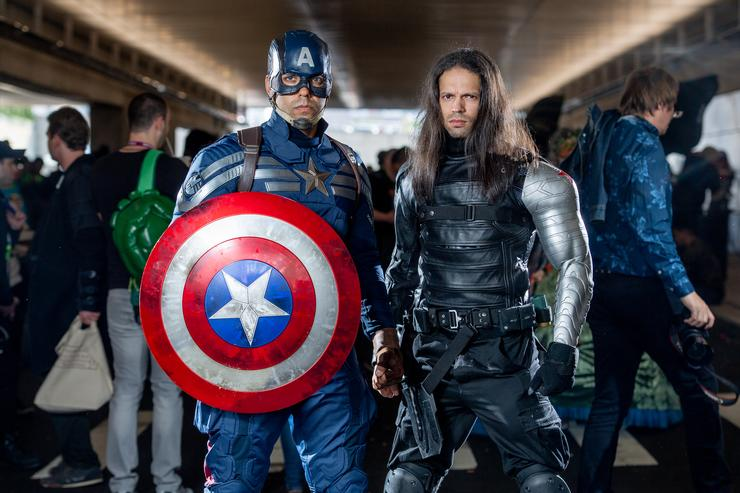 Fans cosplay as Bucky Barnes and Captain America from the Marvel Universe during the 2018 New York Comic-Con at Javits Center on October 7, 2018 in New York City.