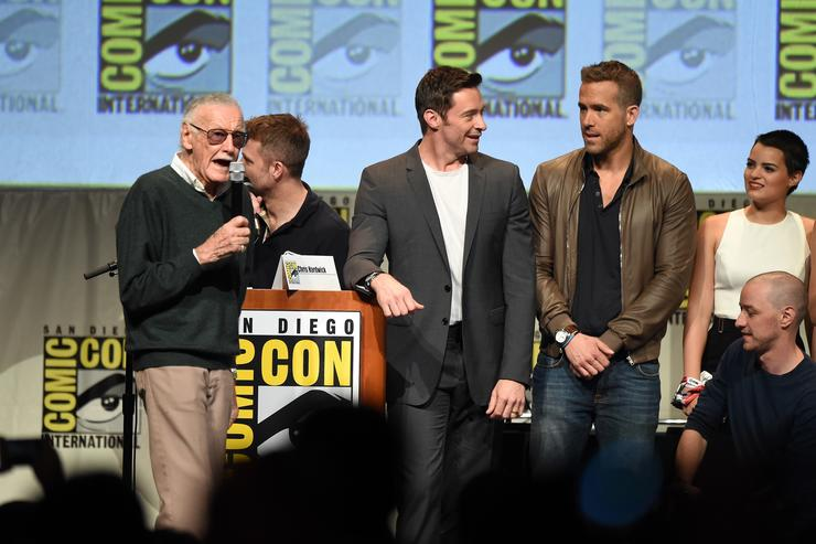 Stan Lee, actor Hugh Jackman, actor Ryan Reynolds and actress Brianna Hildebrand appear onstage at the 20th Century FOX panel during Comic-Con International 2015 at the San Diego Convention Center on July 11, 2015 in San Diego, California.