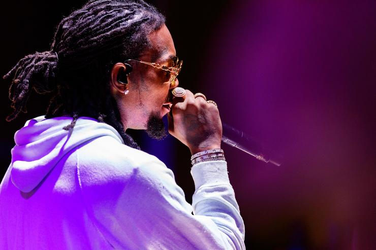 Offset of music group Migos performs onstage during 'All-Star Weekend Kick-Off Party' at Capitol Records Tower on February 15, 2018 in Los Angeles, California