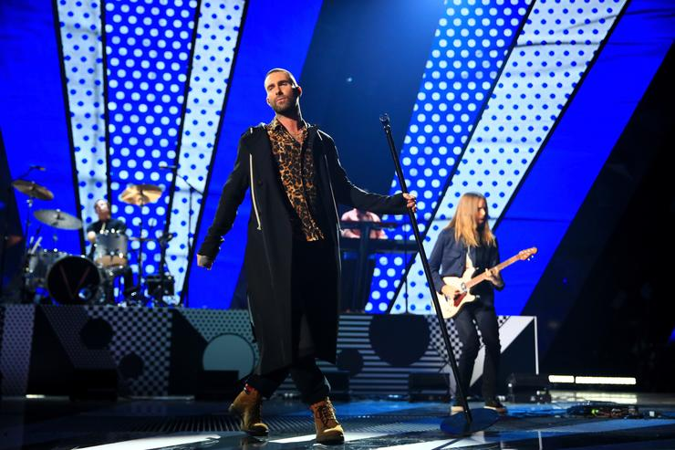 Adam Levine of Maroon 5 performs onstage during the 2018 iHeartRadio Music Awards which broadcasted live on TBS, TNT, and truTV at The Forum on March 11, 2018 in Inglewood, California.