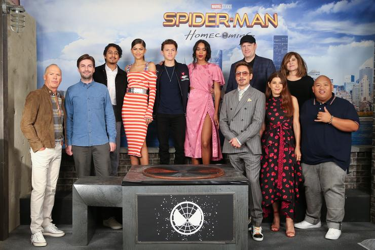 Michael Keaton, Jon Watts, Tony Revolori, Zendaya, Tom Holland, Laura Harrier, Robert Downey Jr., Kevin Feige, Marisa Tomei, Amy Pascal and Jacob Batalon attend the 'Spider-Man: Homecoming' Photo Call at the Whitby Hotel on June 25, 2017 in New York City.