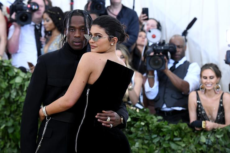 Recording artist Travis Scott and Kylie Jenner attend the Heavenly Bodies: Fashion & The Catholic Imagination Costume Institute Gala at The Metropolitan Museum of Art on May 7, 2018 in New York City.