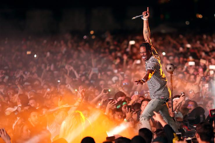 Rapper Travis Scott performs on the Outdoor Stage during day 1 of the Coachella Valley Music And Arts Festival (Weekend 1) at the Empire Polo Club on April 14, 2017 in Indio, California