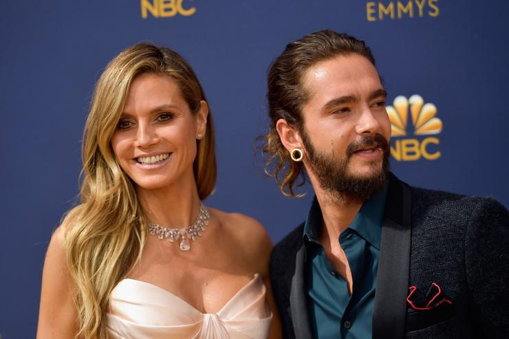 Heidi Klum (L) and Tom Kaulitz attend the 70th Emmy Awards at Microsoft Theater on September 17, 2018 in Los Angeles, California