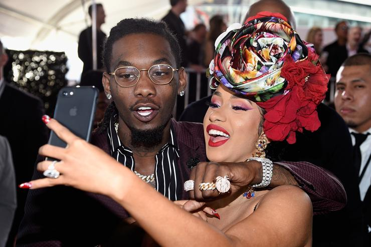 Offset of Migos (L) and Cardi B attends the 2018 American Music Awards at Microsoft Theater on October 9, 2018 in Los Angeles, California