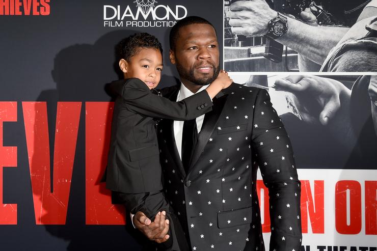50 Cent (R) and Sire Jackson attend the premiere of STX Films' 'Den of Thieves' at Regal LA Live Stadium 14 on January 17, 2018 in Los Angeles, California