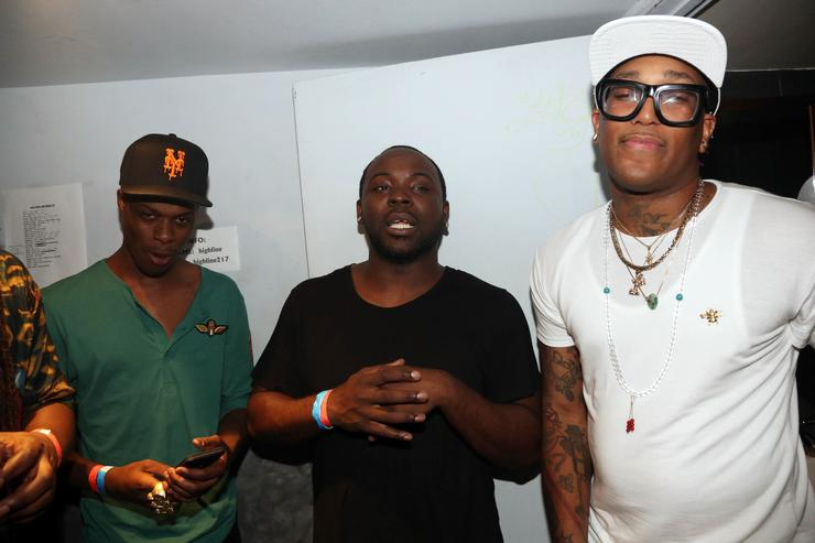 Loyal Duce, Taxstone, and Fame School Tell attend Highline Ballroom on August 11, 2015, in New York City