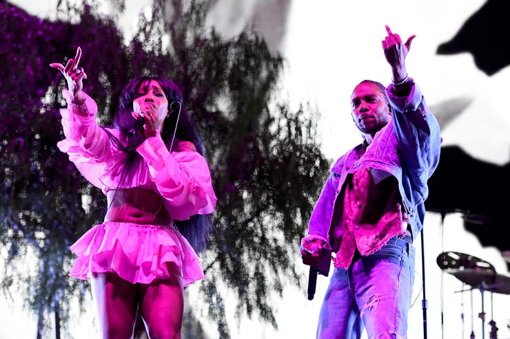 SZA and Kendrick Lamar perform onstage during the 2018 Coachella Valley Music And Arts Festival at the Empire Polo Field on April 13, 2018 in Indio, California.