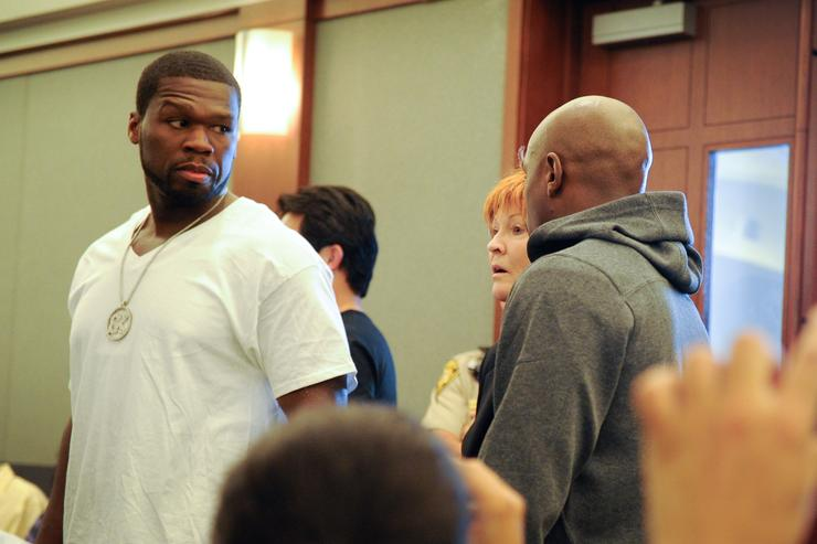 Floyd Maywether Jr. arrives at the Clark County Regional Justice Center accompanied by Curtis ''50 Cent'' Jackson as he surrenders to serve a three-month jail sentence at the Clark County Detention CenterÊon June 1, 2012 in Las Vegas, Nevada