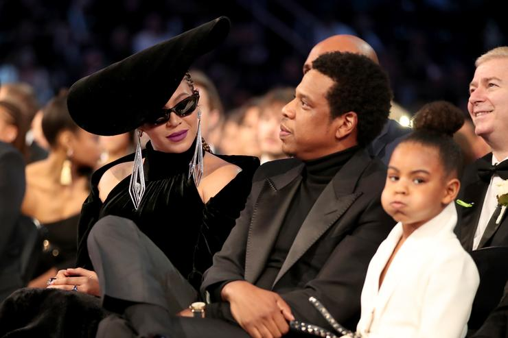 Beyonce, Jay-Z and Blue Ivy Carter attends the 60th Annual GRAMMY Awards at Madison Square Garden on January 28, 2018 in New York City
