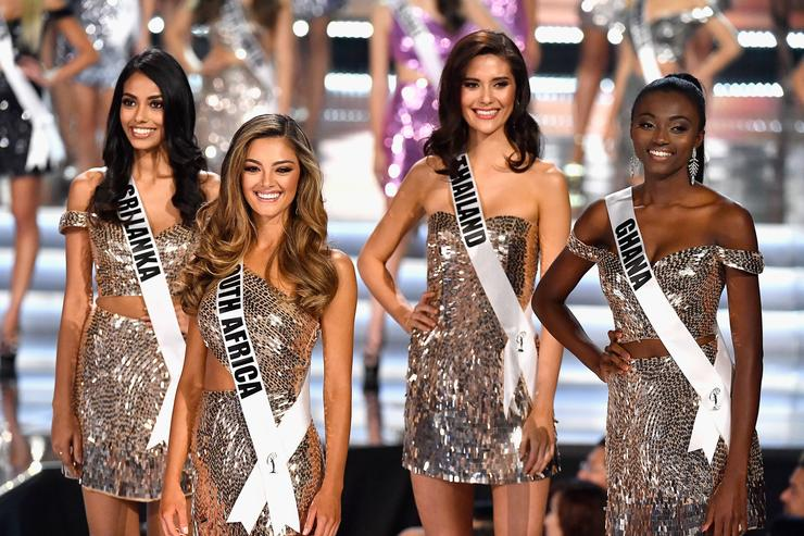 Miss Sri Lanka 2017 Christina Peiris, Miss South Africa 2017 Demi-Leigh Nel-Peters, Miss Thailand 2017 Maria Poonlertlarp, and Miss Ghana 2017 Ruth Quarshie are named top 16 finalists during the 2017 Miss Universe Pageant at The Axis at Planet Hollywood Resort & Casino on November 26, 2017 in Las Vegas, Nevada