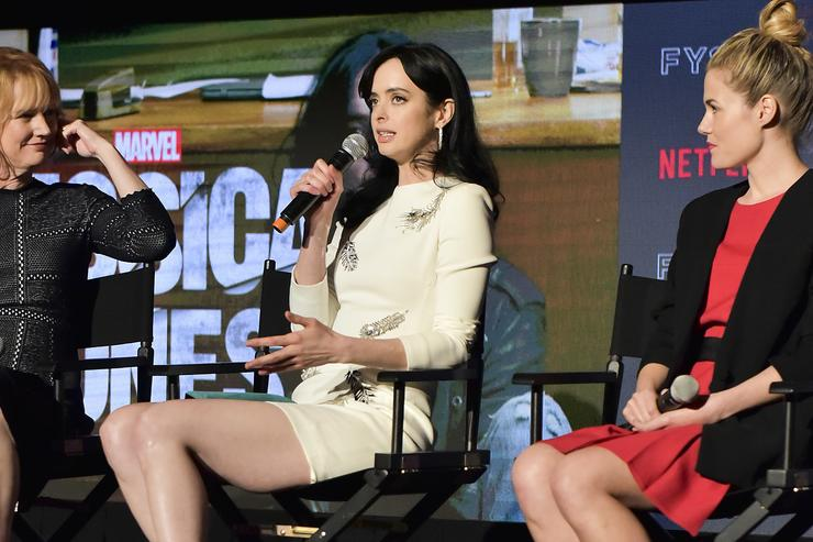 Melissa Rosenberg, Krysten Ritter, and Rachel Taylor speak on stage at the #NETFLIXFYSEE event for 'Jessica Jones' at Netflix FYSEE at Raleigh Studios on May 19, 2018 in Los Angeles, California.