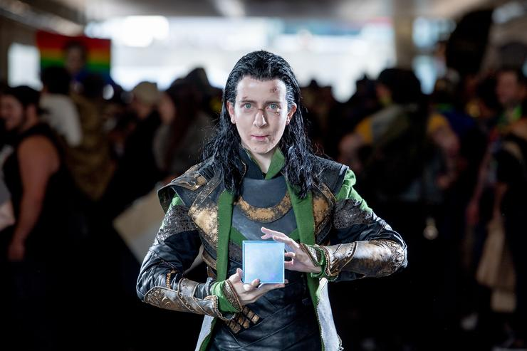 A fan cosplays as Loki from Thor and the Marvel Universe during the 2018 New York Comic-Con at Javits Center on October 7, 2018 in New York City.