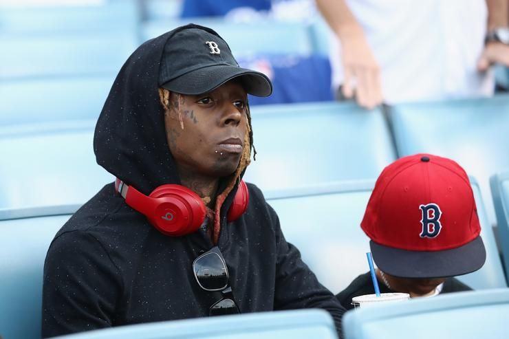 Lil Wayne attends Game Five of the 2018 World Series between the Los Angeles Dodgers and the Boston Red Sox at Dodger Stadium on October 28, 2018 in Los Angeles, California