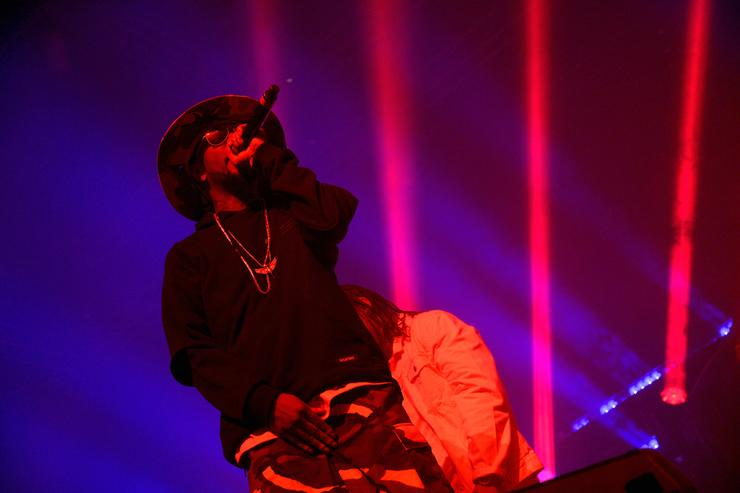 Layzie Bone of Bone Thugs-N-Harmony performs onstage with Zhu during day 2 of the 2016 Coachella Valley Music & Arts Festival Weekend 1 at the Empire Polo Club on April 16, 2016 in Indio, California