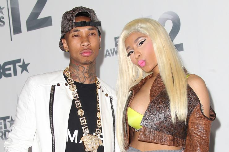 Tyga (L) and Nicki Minaj attend the BET Awards '12 at The Shrine Auditorium on July 1, 2012 in Los Angeles, California