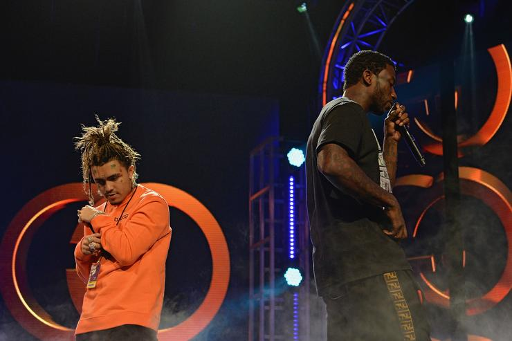 Lil Pump and Gucci Mane perform on stage during the BET Hip Hop Awards 2018 Rehearsals at Fillmore Miami Beach on October 6, 2018 in Miami Beach, Florida