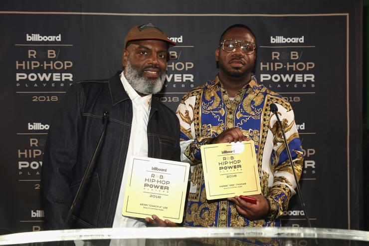 """Kevin Coach K Lee (L) and Quality Control's Pierre """"Pee"""" Thomas speak onstage at the Billboard 2018 R&B Hip-Hop Power Players event at Legacy Records on September 27, 2018 in New York City."""