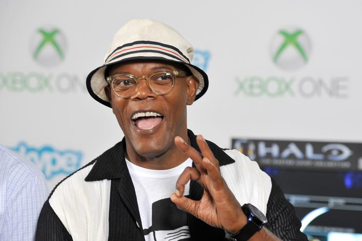 The Secret Service' actor Samuel L. Jackson takes a break from Comic-Con to check out Xbox One Halo: The Master Chief Collection in the Microsoft VIP Lounge on July 25, 2014 in San Diego, California.