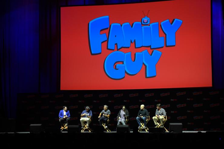 Andy Swift, Alec Sulkin, John Viener, Kara Vallow, Richard Appel, Mike Henry and John Viener speak onstage at the Family Guy panel during 2018 New York Comic Con at on October 6, 2018 in New York City
