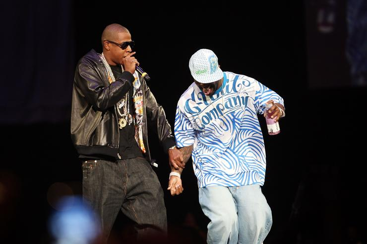 Jay Z (L) and 50 Cent perform onstage during Screamfest '07 at Madison Square Garden on August 22, 2007 in New York City