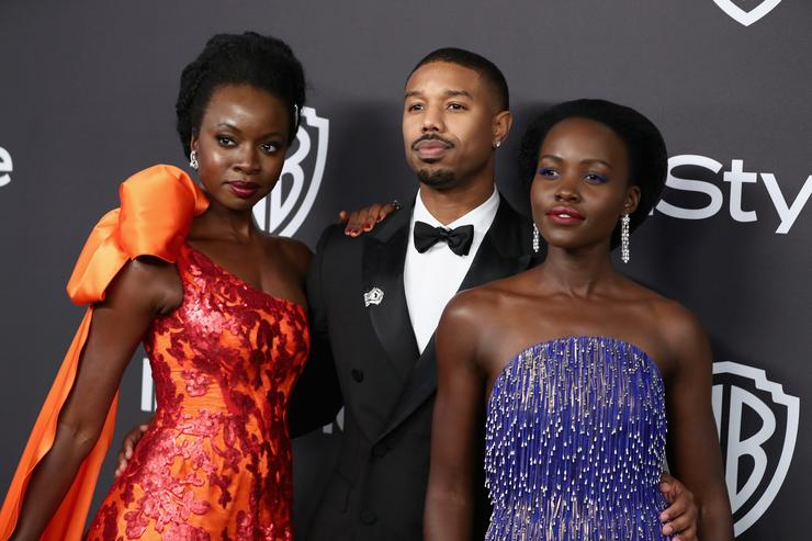 Danai Gurira, Michael B. Jordan, and Lupita Nyong'o attend the InStyle And Warner Bros. Golden Globes After Party 2019 at The Beverly Hilton Hotel on January 6, 2019 in Beverly Hills, California.