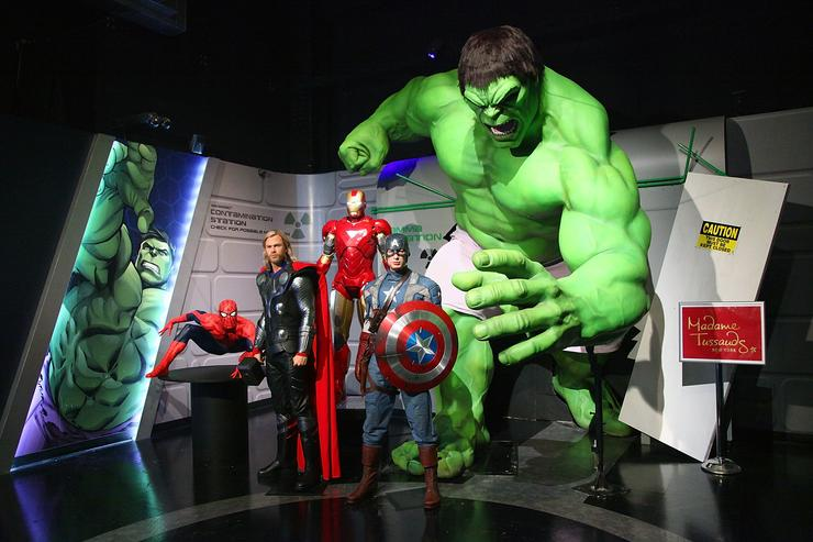 Wax figures of Spider-Man, Thor as portrayed by actor Chris Hemsworth, Iron Man, Captain America as portrayed by actor Chris Evans and The Hulk appear at the Madame Tussauds New York's Interactive Marvel Super Hero Experience at Madame Tussauds on April 26, 2012 in New York City.