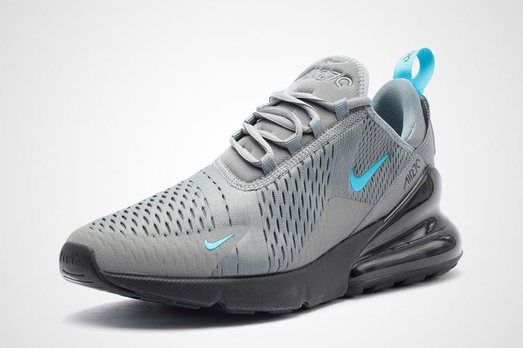 94caa75f3911be Nike Air Max 270 Cool Grey And Blue Fury Details
