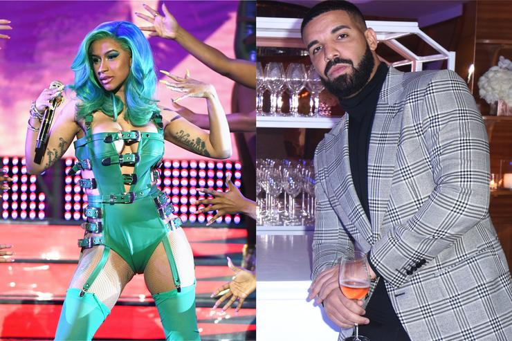 Cardi B and Drake split screen