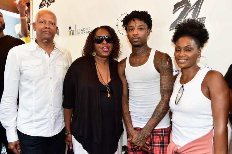 Congressman Hank Johnson,Dekalb Counry Commissioner Mereda Davis,recording artist 21 Savage and Heather Joseph attend 21 Savage And His Leading By Example Foundation Host 3rd Annual Issa Back 2 School Drive on August 5, 2018 in Decatur, Georgia.