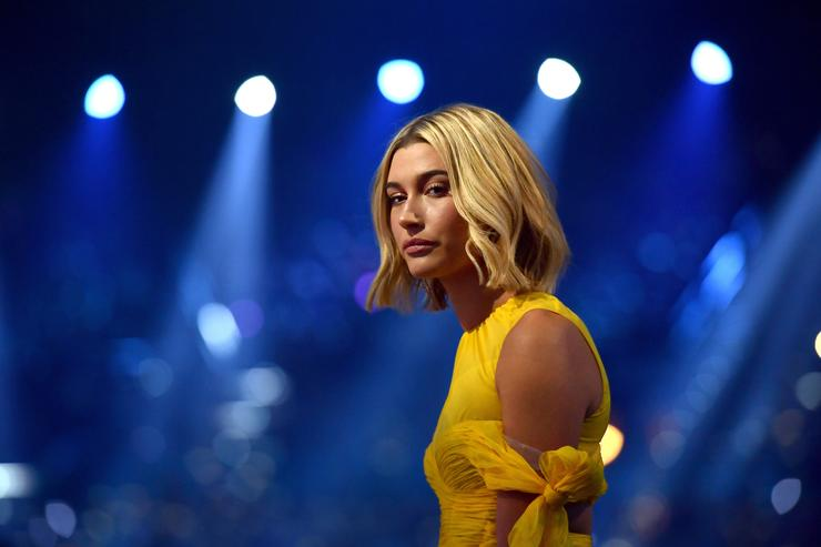 Model Hailey Baldwin at the 2018 Billboard Music Awards at MGM Grand Garden Arena on May 20, 2018 in Las Vegas, Nevada.