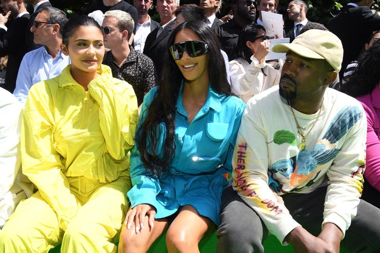 Kylie Jenner, Kim Kardashian and Kanye West attend the Louis Vuitton Menswear Spring/Summer 2019 show as part of Paris Fashion Week on June 21, 2018 in Paris, France