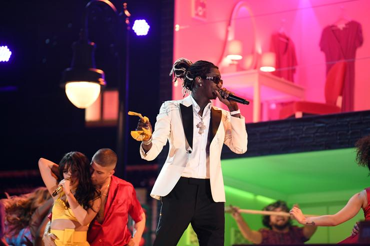 Camila Cabello (L) and Young Thug perform onstage during the 61st Annual GRAMMY Awards at Staples Center on February 10, 2019 in Los Angeles, California