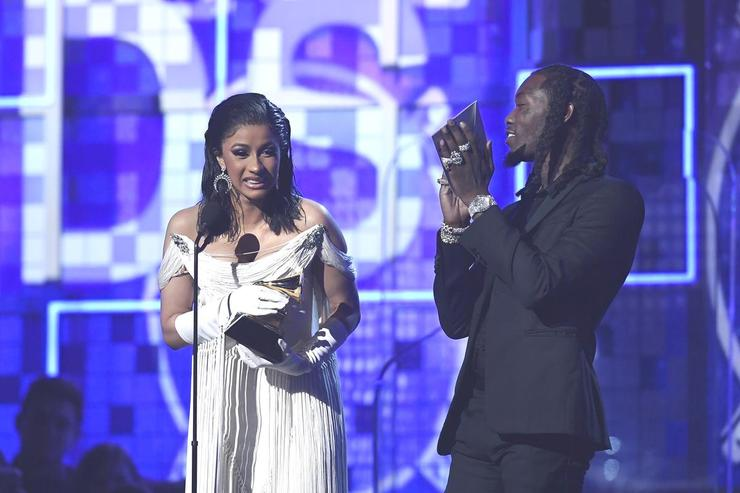 Cardi B (L) and Offset accept Best Rap Album for 'Invasion of Privacy' onstage during the 61st Annual GRAMMY Awards at Staples Center on February 10, 2019 in Los Angeles, California