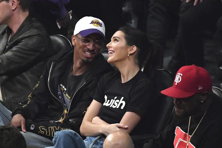 Kendall Jenner attends a basketball where LeBron James #23 of the Los Angeles Lakers as he makes his home debut against the Houston Rockets at Staples Center on October 20, 2018 in Los Angeles, California
