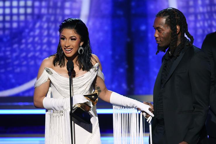 Cardi B (L) and Offset accept the Best Rap Album for 'Invasion of Privacy' onstage during the 61st Annual GRAMMY Awards at Staples Center on February 10, 2019 in Los Angeles, California