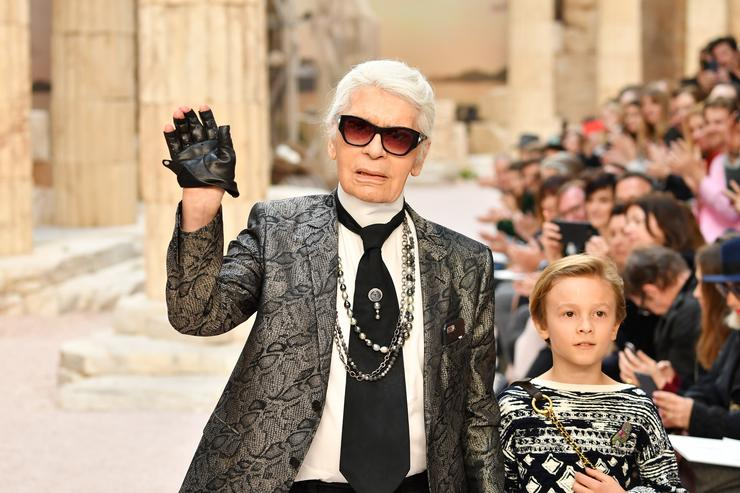 Karl Lagerfeld and nephew Hudson Kroenig walk the runway during Chanel Cruise 2017/2018 Collection at Grand Palais on May 3, 2017 in Paris, France