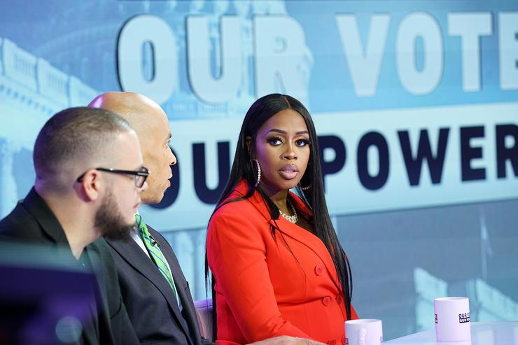 Remy Ma (C) attends the 'Our Vote, Our Power' Mid Term Election Special at Times Square Studios on October 22, 2018 in New York City