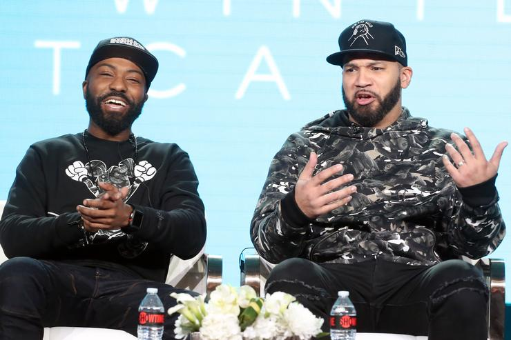 Desus Nice and The Kid Mero of the television show 'Desus & Mero' speak during the Showtime segment of the 2019 Winter Television Critics Association Press Tour at The Langham Huntington, Pasadena on January 31, 2019 in Pasadena, California