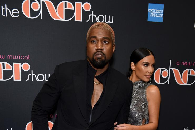 Kanye West and Kim Kardashian West arrive at 'The Cher Show' Broadway Opening Night at Neil Simon Theatre on December 03, 2018 in New York City