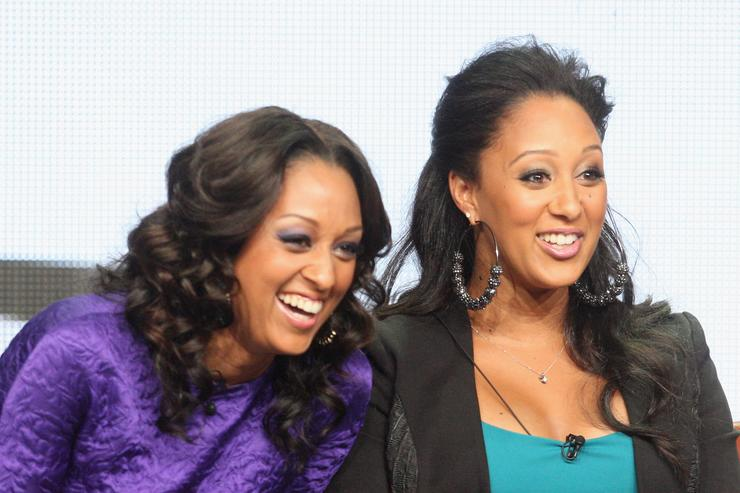 Tia Mowry and Tamera Mowry speak onstage at the 'Tia & Tamera' panel during day 5 of the NBCUniversal portion of the 2012 Summer TCA Tour at The Beverly Hilton Hotel on July 25, 2012 in Beverly Hills, California