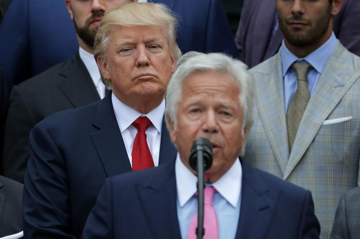 New England Patriots owner Robert Kraft (C) delivers remarks during an event celebrating the team's Super Bowl win hosted by U.S. President Donald Trump on the South Lawn at the White House April 19, 2017 in Washington, DC. It was the team's fifth Super Bowl victory since 1960.