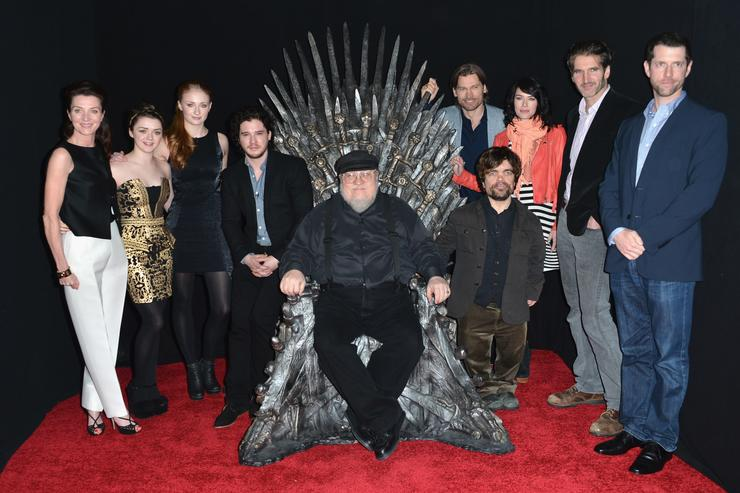 Michelle Fairley, Maisie Williams, Sophie Turner, Kit Harington, executive producer George R.R. Martin, actors Nikolaj Coster-Waldau, Peter Dinklage, Lena Headey, co-creator/executive producer David Banioff and co-creator/executive producer D.B. Weiss attend The Academy of Television Arts & Sciences' Presents An Evening With 'Game of Thrones' at TCL Chinese Theatre on March 19, 2013 in Hollywood, California