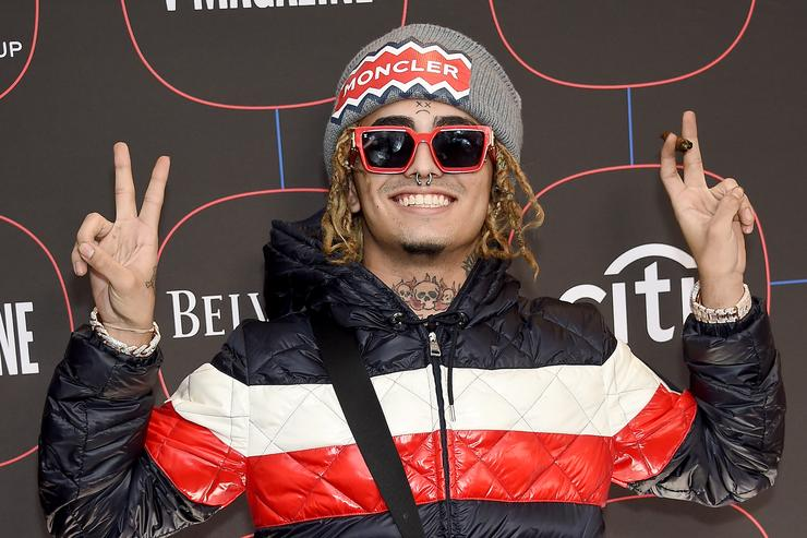Lil Pump arrives at the Warner Music Group Pre-Grammy Celebration at Nomad Hotel Los Angeles on February 7, 2019 in Los Angeles, California,