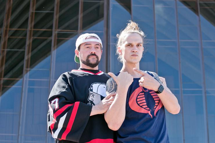 Kevin Smith and Jason Mewes (aka Jay and Silent Bob) during a media call at Sydney Opera House on September 18, 2015 in Sydney, Australia.