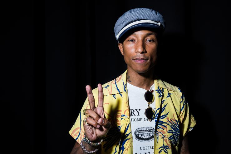 Pharrell Williams poses backstage as iHeartMedia hosts the main stage fireside chat about creativity with radio and television host and producer Ryan Seacrest and Grammy Award winner musician/entrepreneur Pharrell Williams during the Cannes Lions Festival at Grand Audi Theater, Palais on June 23, 2015 in Cannes, Framce