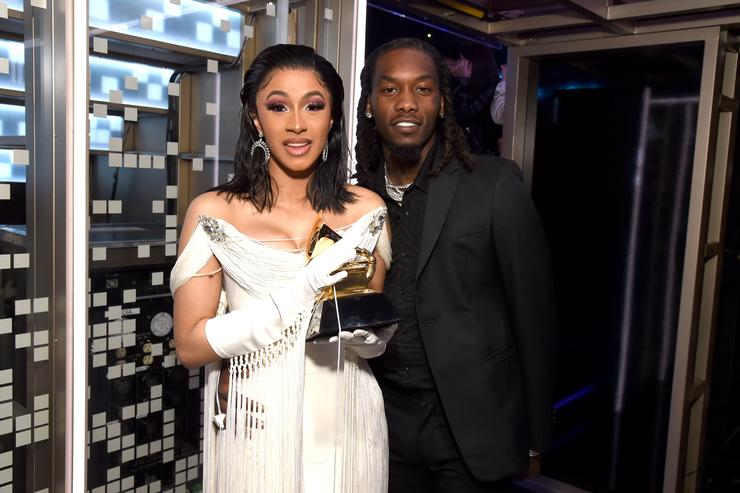 Cardi B, winner of Best Rap Album for 'Invasion of Privacy,' and Offset pose backstage during the 61st Annual GRAMMY Awards at Staples Center on February 10, 2019 in Los Angeles, California