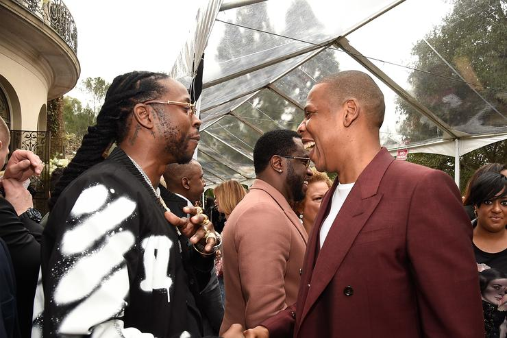 Jay Z (R) and 2 Chainz attend 2017 Roc Nation Pre-GRAMMY brunch at Owlwood Estate on February 11, 2017 in Los Angeles, California.