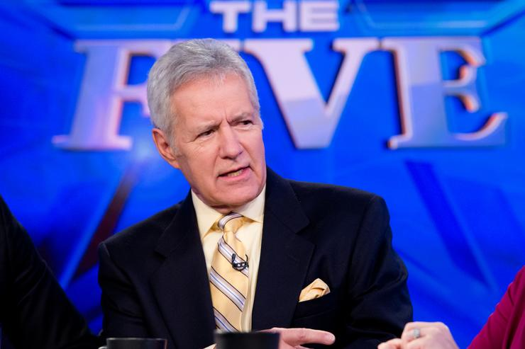TV personality Alex Trebek visits FOX News' 'The Five' at FOX Studios on February 26, 2014 in New York City.