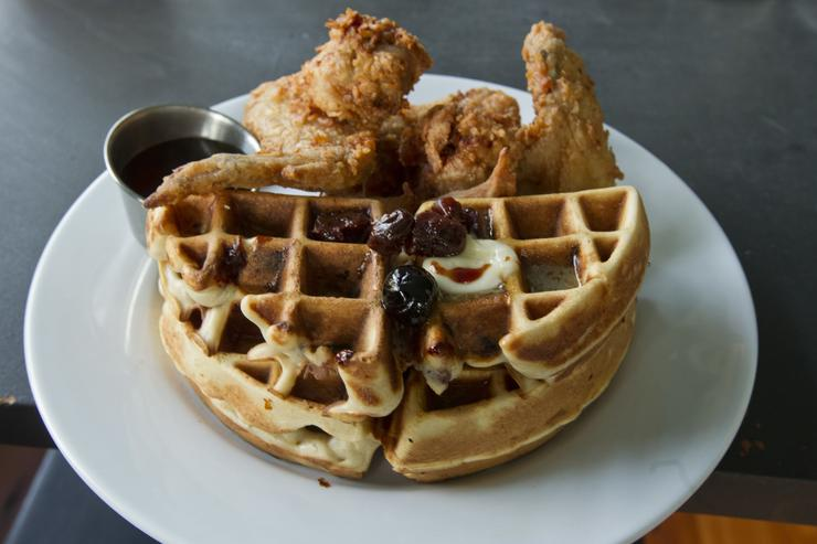The fried chicken and waffles at M3 in Davis Square on Friday, June 29, 2012